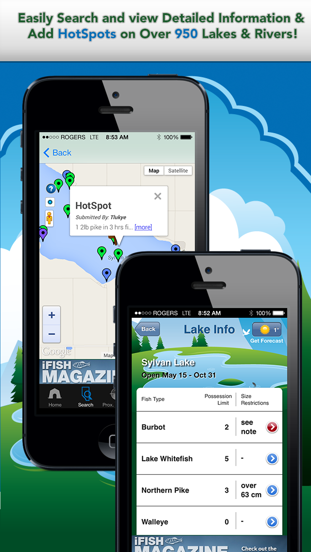 iFish Alberta App Lake Details & HotSpots Screens