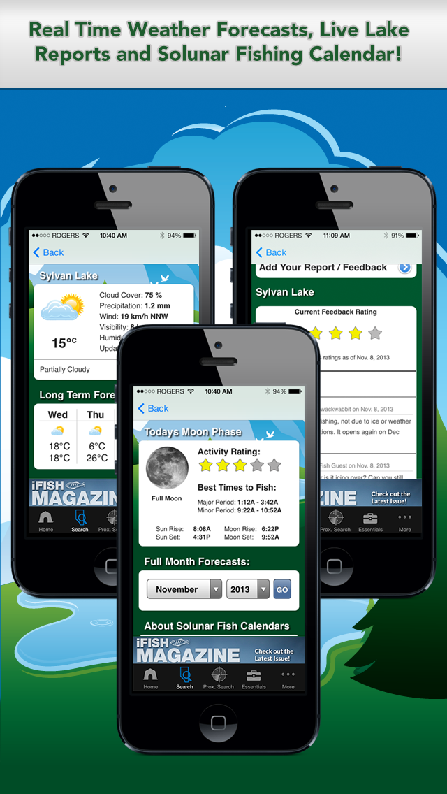 iFish Alberta App Solunar Calendar, Weather Reports and Lake Reports